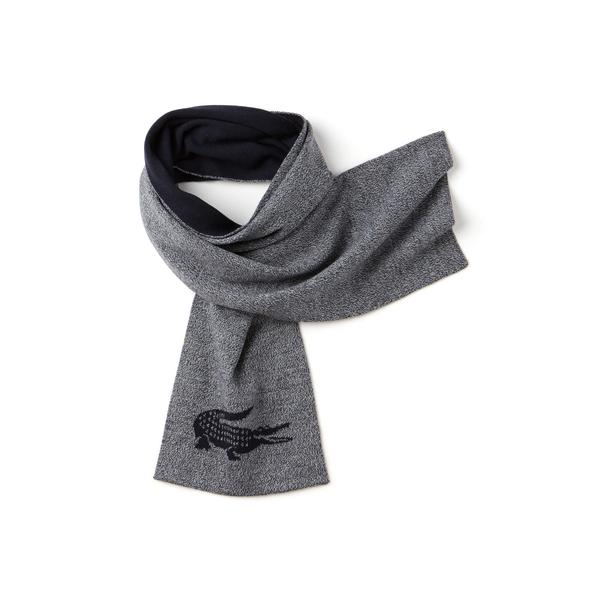 Lacoste Men's Jacquard Crocodile Wool Scarf