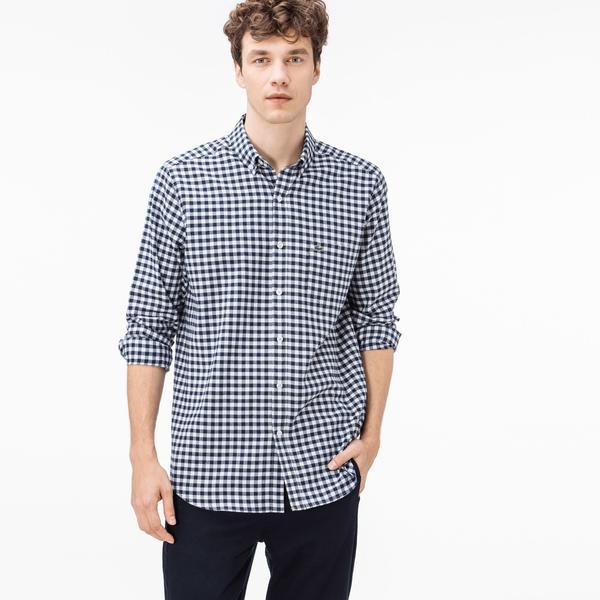 Lacoste Men's Regular Fit Blue-White Plaid Shirt
