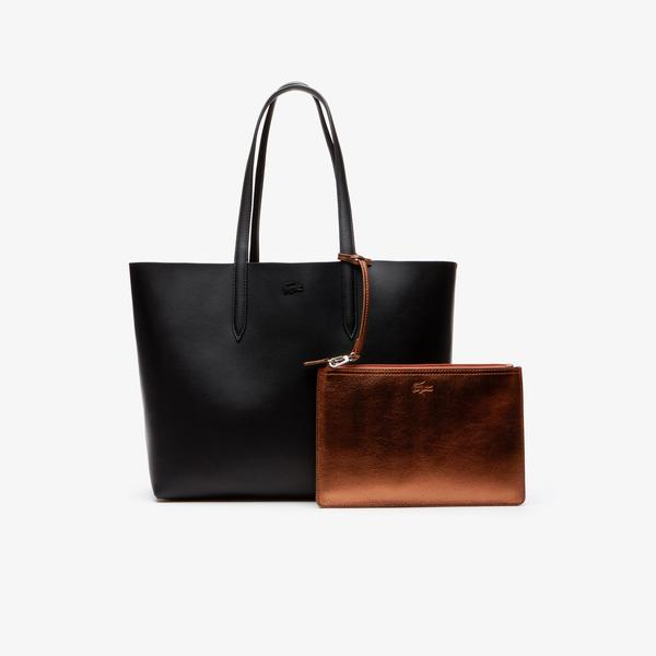 Lacoste Women's Anna Reversible Matte And Iridescent Leather Tote