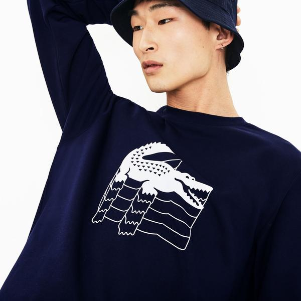 Lacoste Men's Crew Neck Crocodile Print Fleece Sweatshirts