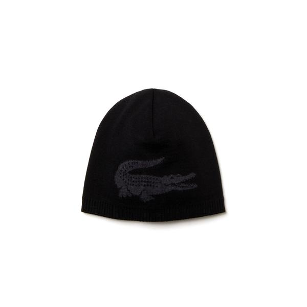 Lacoste Men's Jacquard Crocodile Wool Beanie