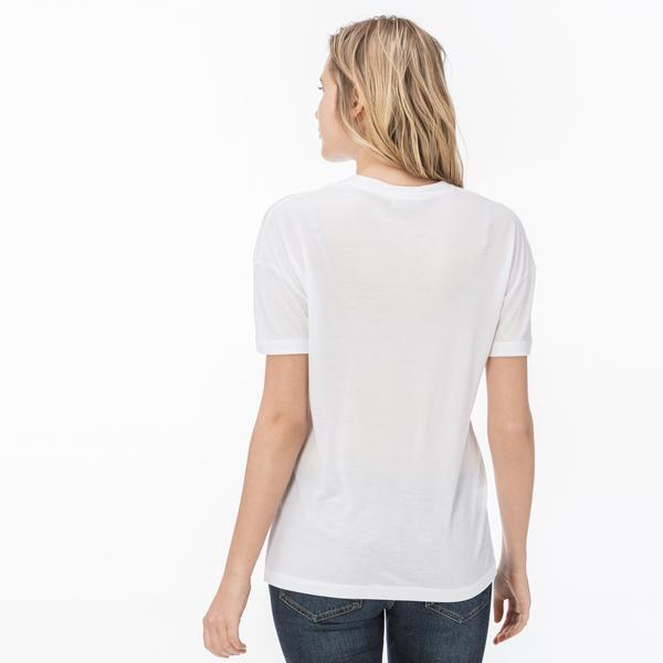 Lacoste Women's Wide Neck Rayon T-Shirt