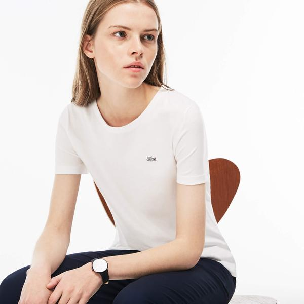 Lacoste Women's Crew Neck Flowing Cotton Jersey T-Shirt