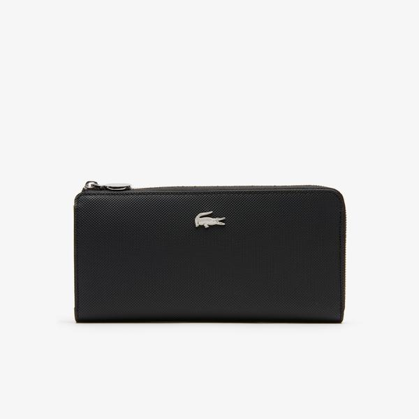 Lacoste Women's Daily Classic Coated Piqué Canvas 10 Card Zip Wallet