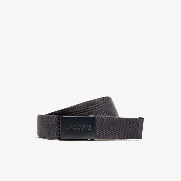 Lacoste Men's Engraved Plate Buckle Woven Belt