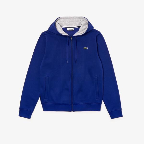 Lacoste Sport Men'sTennis Hooded Zippered Sweatshirt İn Fleece