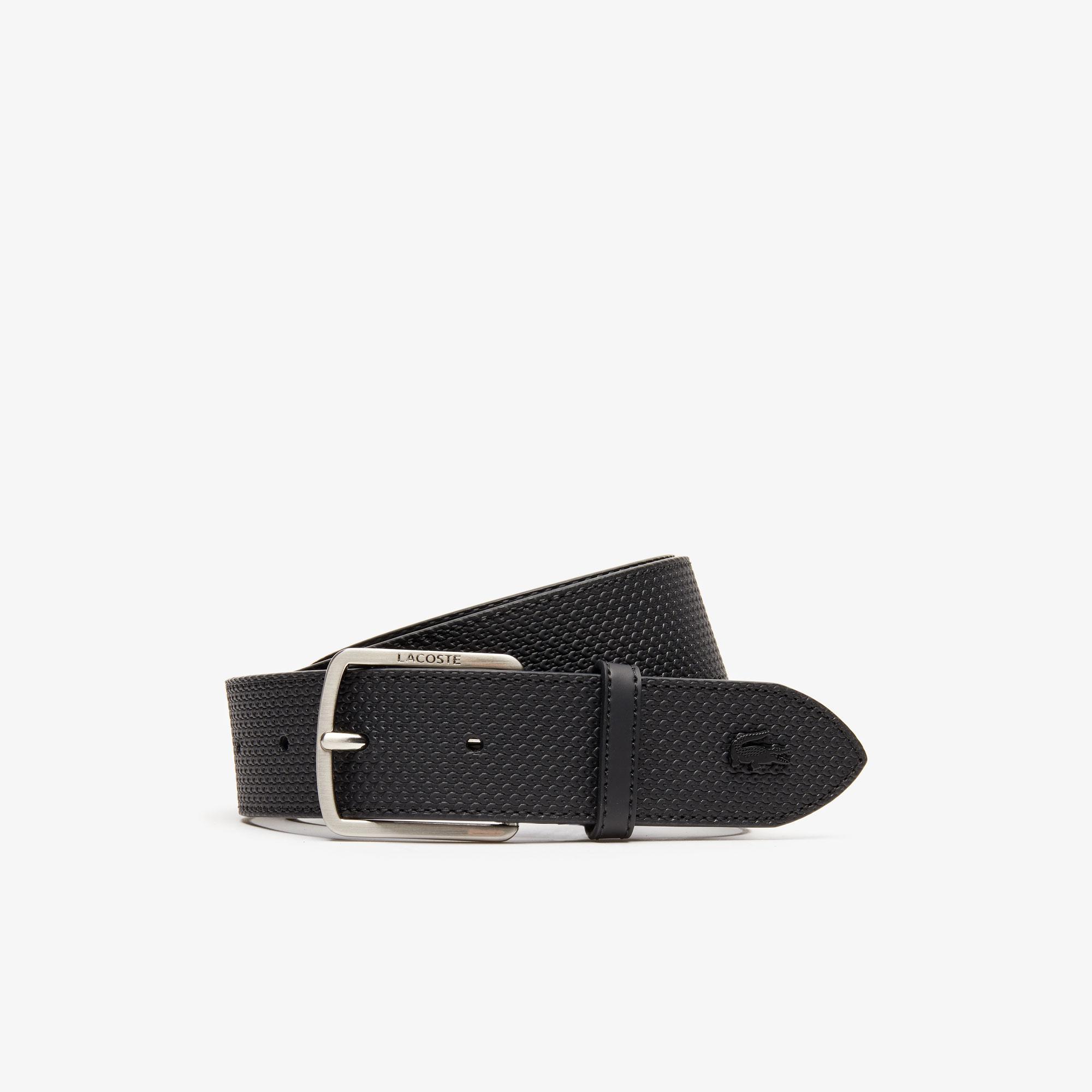 Lacoste Men's Engraved Buckle Texturised Leather Belt