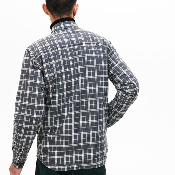 Lacoste Men's Boxy Fit Quilted Sleeve Check Cotton Shirt