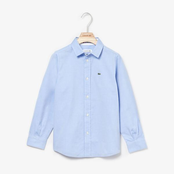 Lacoste Boy's Contrast Finishes Oxford Cotton Shirt