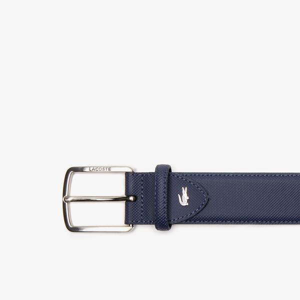 Lacoste Men's Engraved Buckle Piqué Canvas Belt