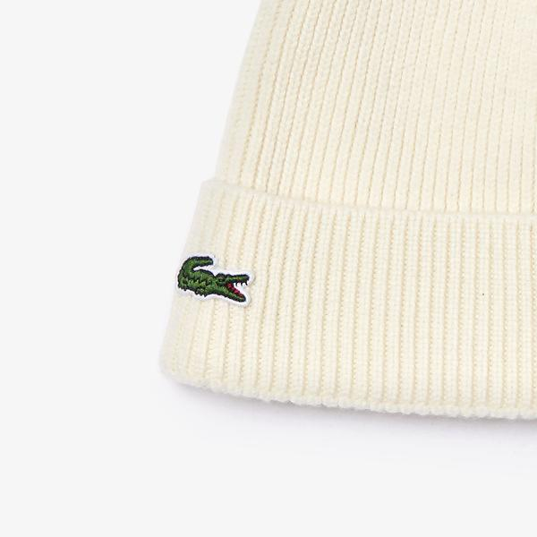 Lacoste Men's Turned Edge Ribbed Wool Beanie