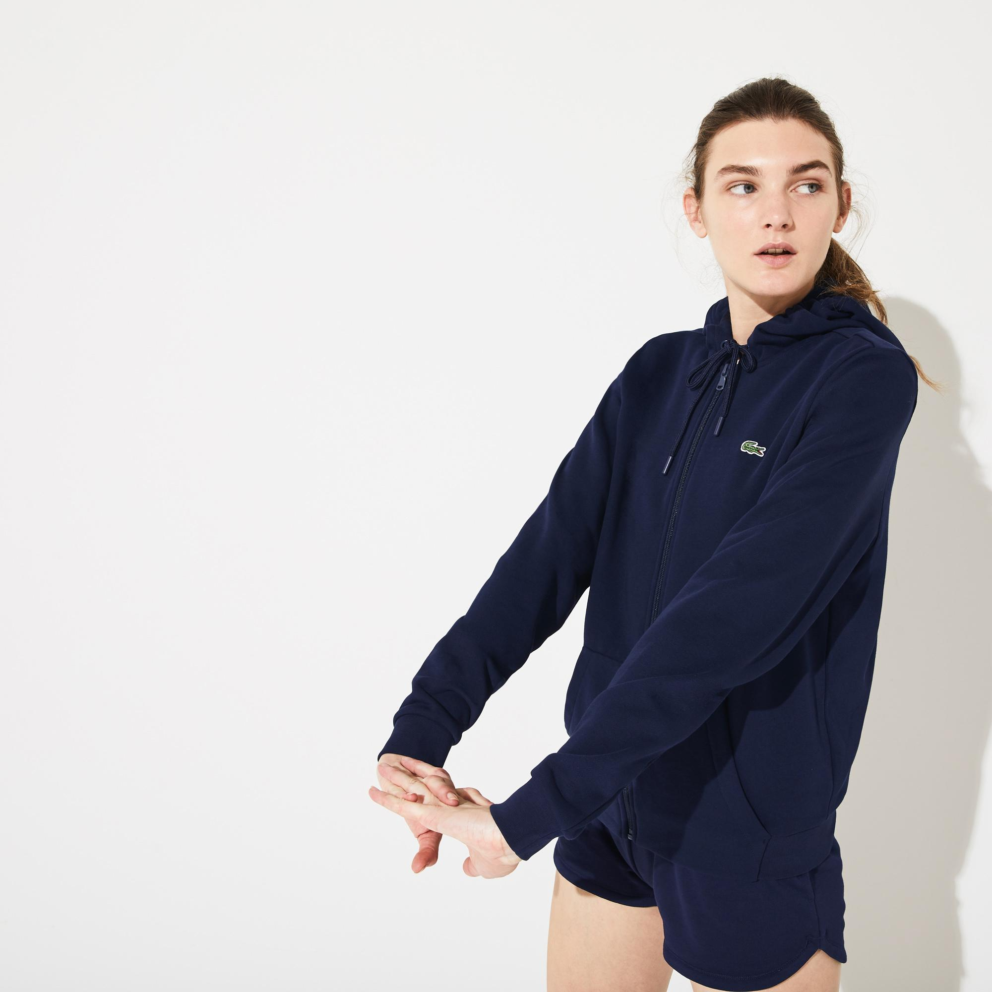 Lacoste Women's Sport Tennis Hooded Zippered Fleece Sweatshirt