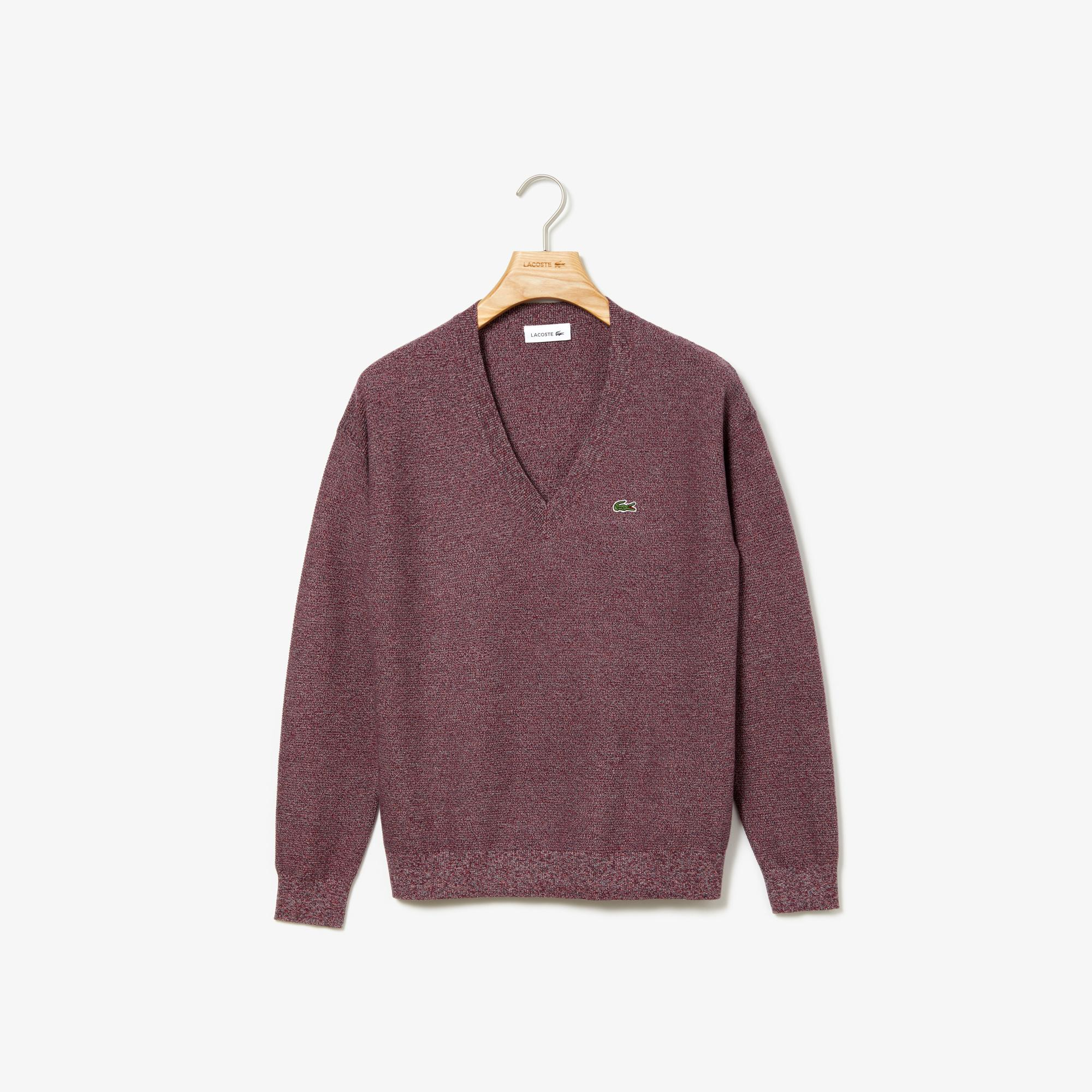 Lacoste Women's V-Neck Texturised Heathered Cotton Sweater