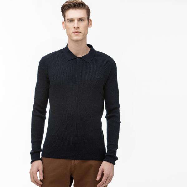 Lacoste Men's Polo Shirt Collar Wool And Cashmere Blend Knit Effect Sweater