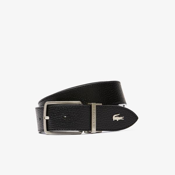 Lacoste Men's Engraved Buckle Grained Leather Belt