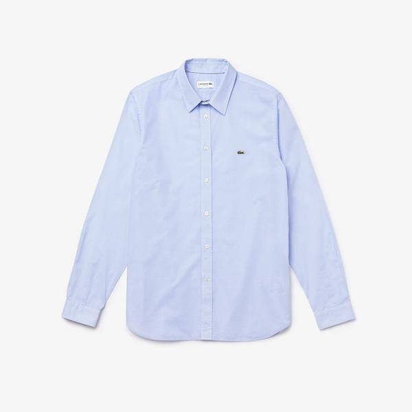 Lacoste Men's Checked Slim Fit Cotton Poplin Shirt