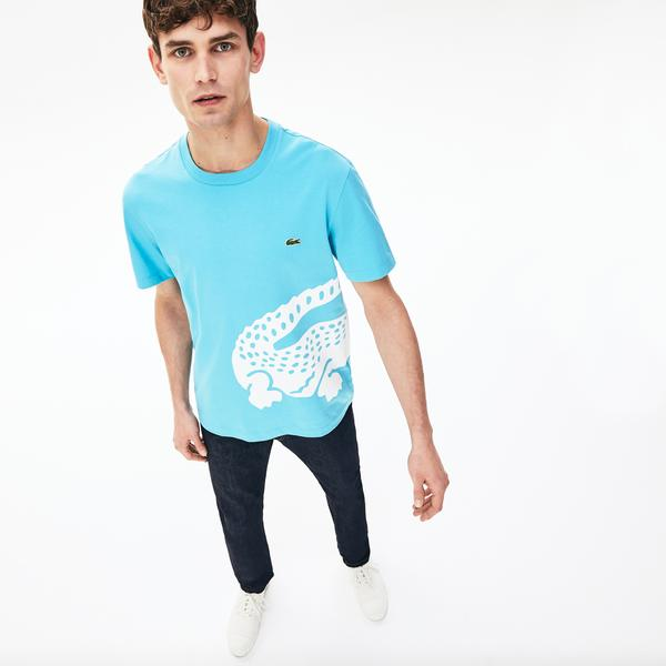 Lacoste Men's Oversized Crocodile Print Crew Neck T-Shirt