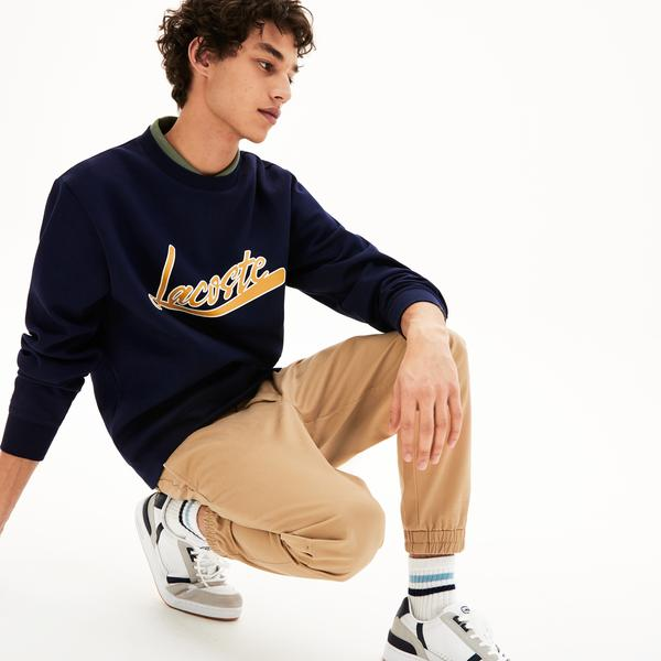 Lacoste Men's Signature Print Crew Neck Sweatshirt
