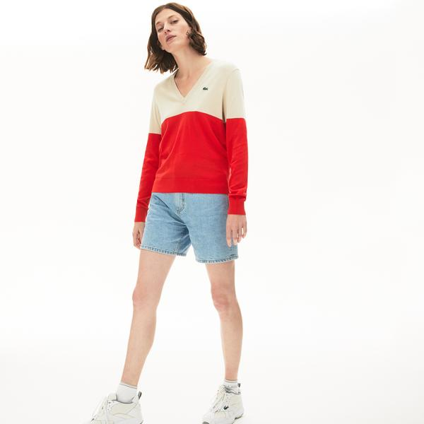 Lacoste Women's Colourblock Cotton V-Neck Sweater