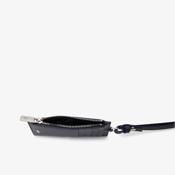 Lacoste Men's Fitzgerald Leather Neck Strap Zippered Card Holder