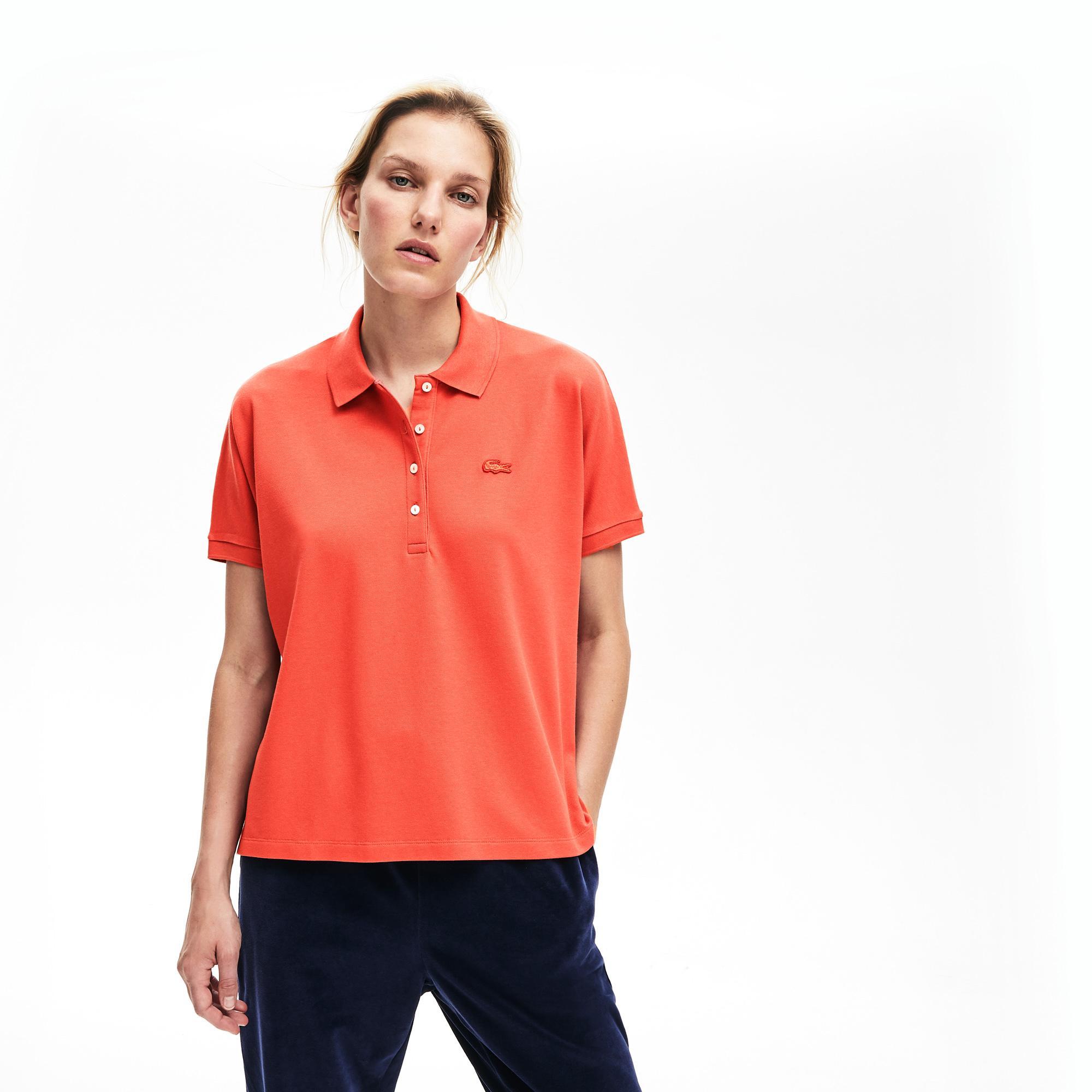 Lacoste Women's Relax Fit Flowing Stretch Cotton Piqué Soft Polo