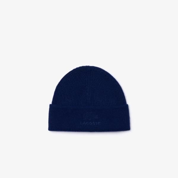 Lacoste Men's Lettering Ribbed Wool Blend Beanie