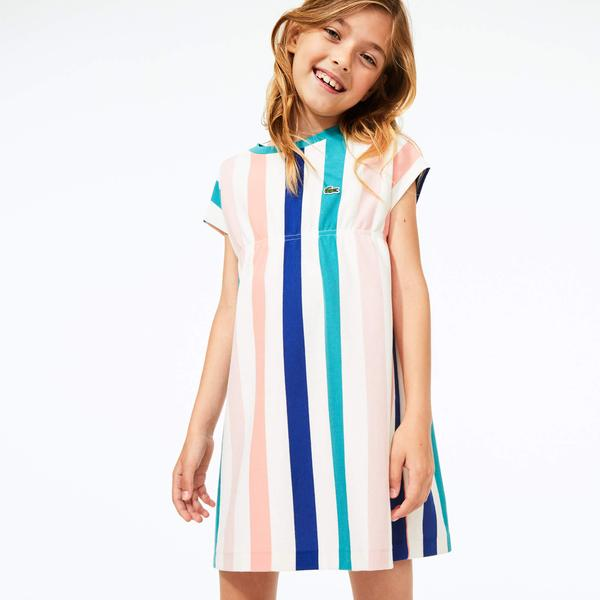Lacoste Girls' Cotton Pique Striped Dress
