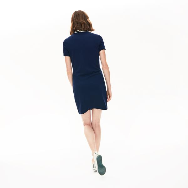 Lacoste Women's Contrast Stretch Cotton Polo Dress