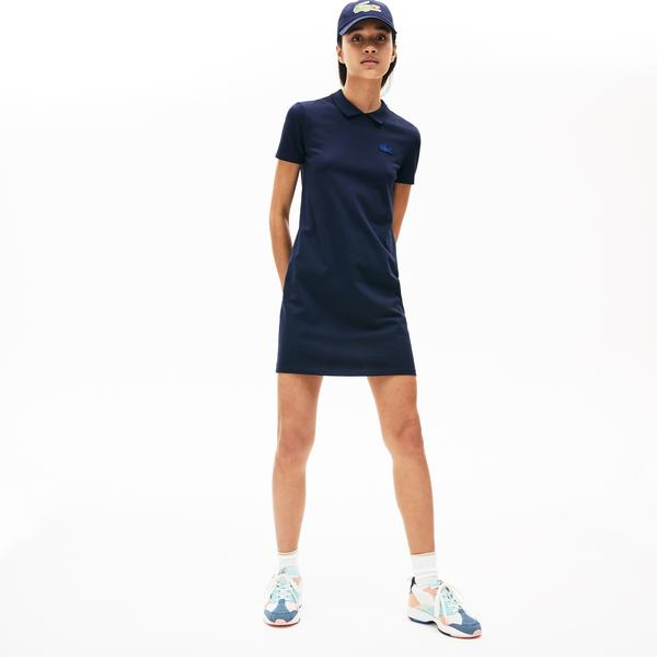 Lacoste Women's LIVE Stretch Piqué Velvet Crocodile Polo Dress