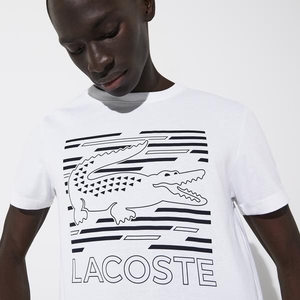 Lacoste Men's Sport Crocodile Printed Breathable T-Shirt