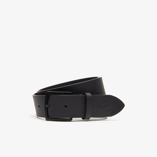 Lacoste Men's Engraved Buckle And Crocodile Smooth Leather Belt