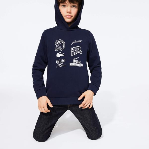 Lacoste Boy's Heritage Print Hooded Fleece Sweatshirt