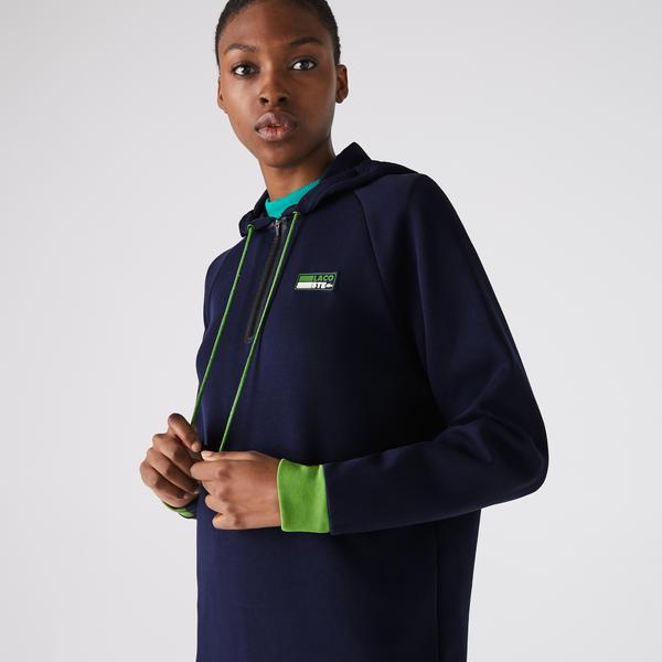 Lacoste Women's SPORT Hooded Cotton Blend Sweatshirt Dress