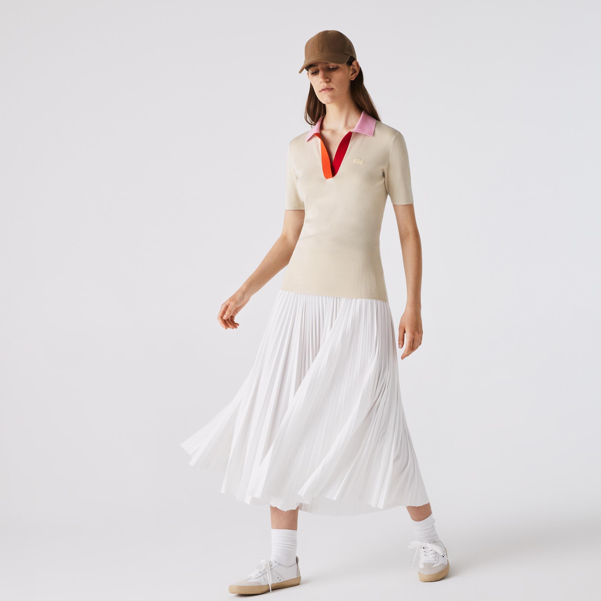 Lacoste Women's Polo Collar Two-Tone Cotton Sweater
