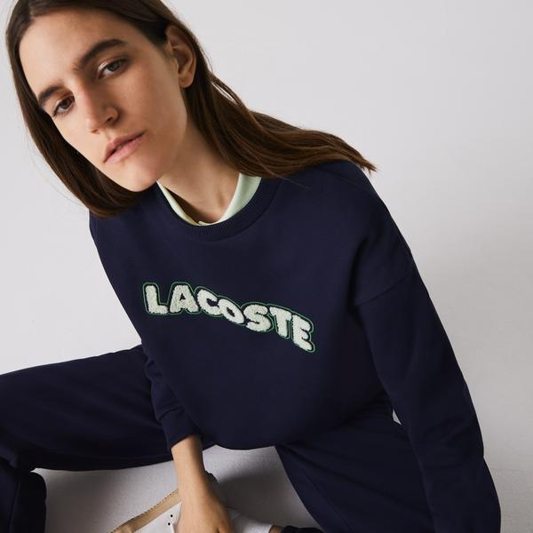 Lacoste Women's Crew Neck Embroidered Fleece Sweatshirt