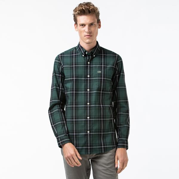Lacoste Men's Regular Fit Stretch Cotton Poplin Checkered Shirt