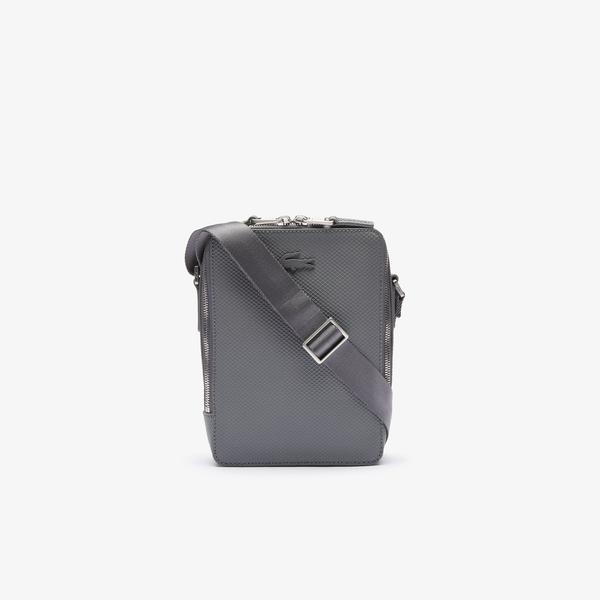 Lacoste Men's Chantaco Matte Stitched Leather Vertical Camera Bag