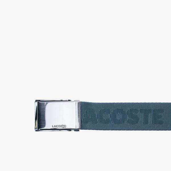 Lacoste Men's Engraved Plate Buckle Woven Belt