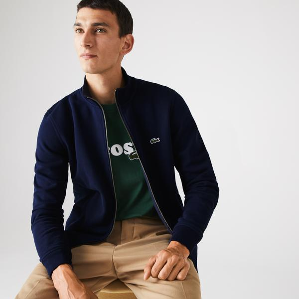 Lacoste Men's Zippered Stand-Up Collar Piqué Fleece Jacket