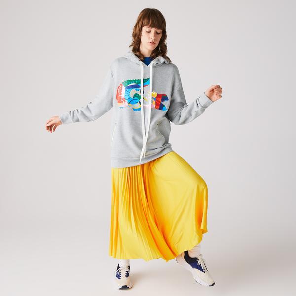 Lacoste Women's Oversized Crocodile Print Hooded Fleece Sweatshirt