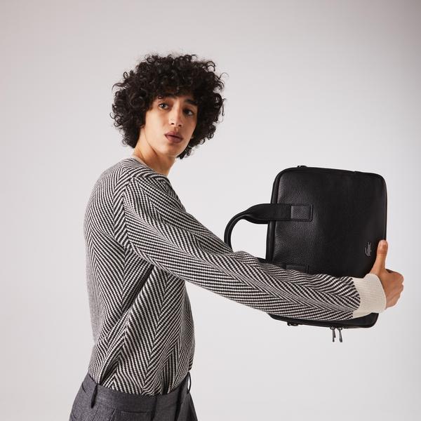 Lacoste Men's Soft Mate Matte Full-Grain Leather Computer Bag