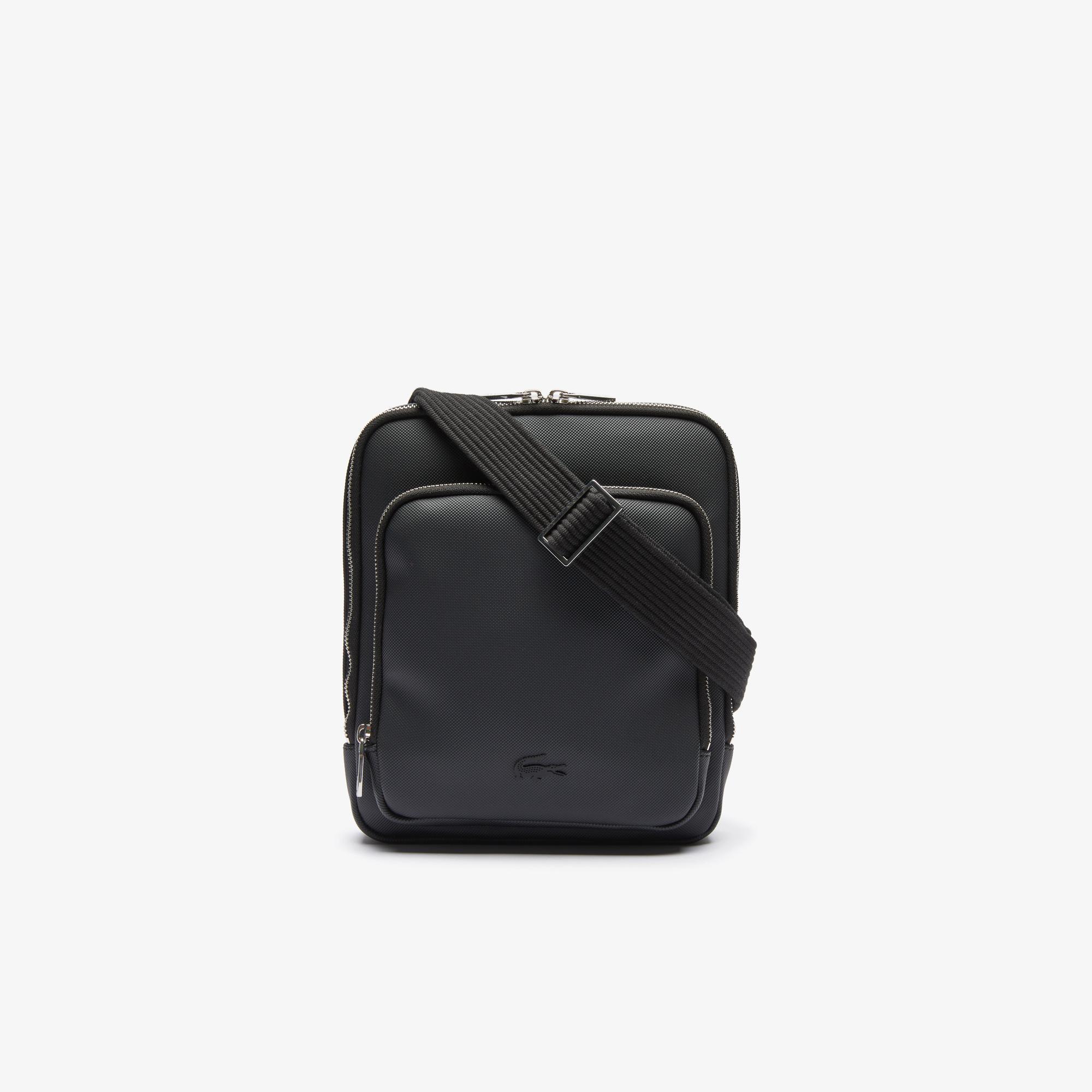 Lacoste Men's Classic Zippered Pocket Rectangular Crossbody Bag