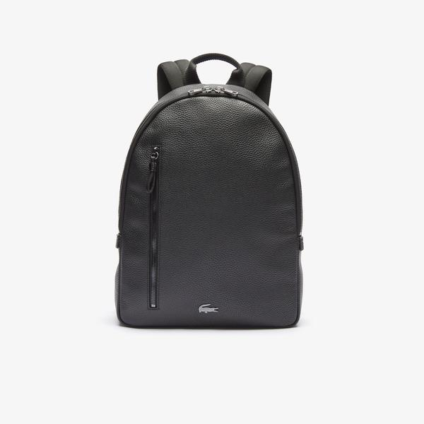 Lacoste Men's Soft Mate Matte Full-Grain Leather Flat Backpack