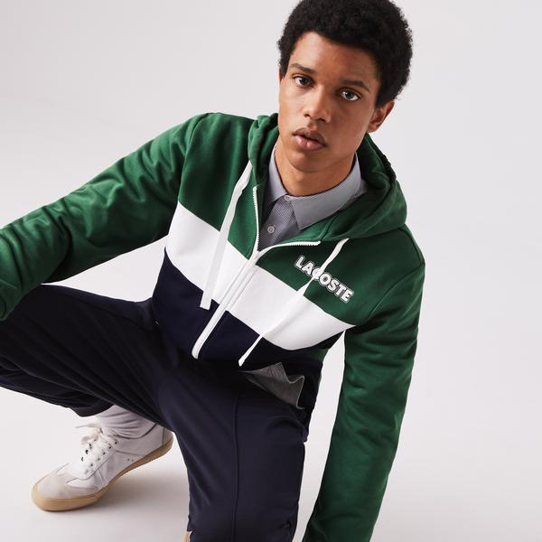 Lacoste Men's Sport Colourblock Fleece Zip Sweatshirt