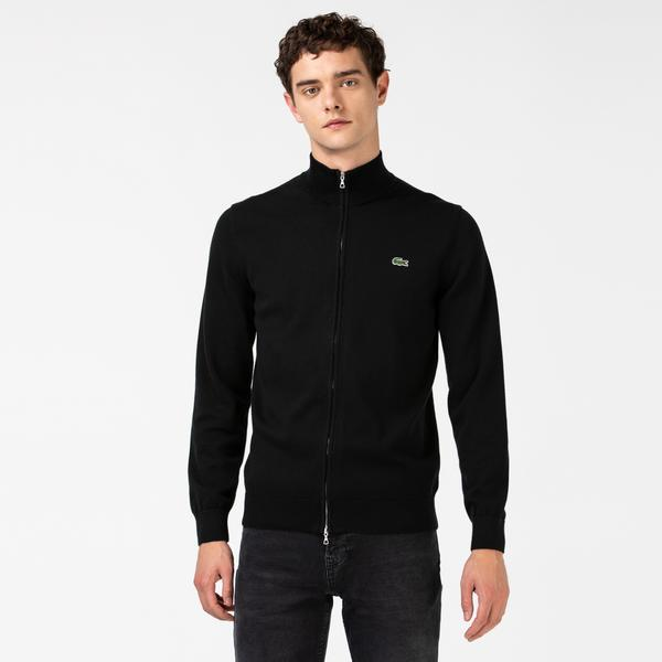 Lacoste Men's Stand-up Collar Organic Cotton Zippered Sweater