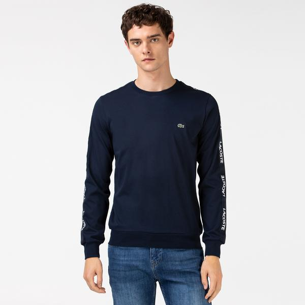 Lacoste Men's Printed Crew Neck Long Sleeve Navy Blue T-Shirt