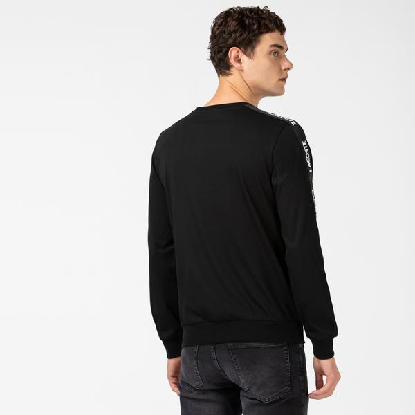 Lacoste Men's Printed Crew Neck Long Sleeve Black T-Shirt