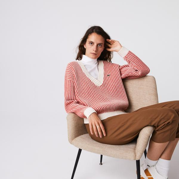 Lacoste Women's Two-Tone Low V-Neck Ribbed Wool Sweater