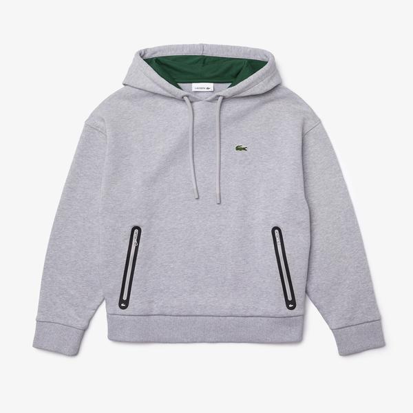Lacoste Women's Contrast Pocket Fleece Hood Sweatshirt
