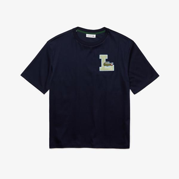Lacoste Women's Crew Neck University-Style Badge Cotton T-Shirt